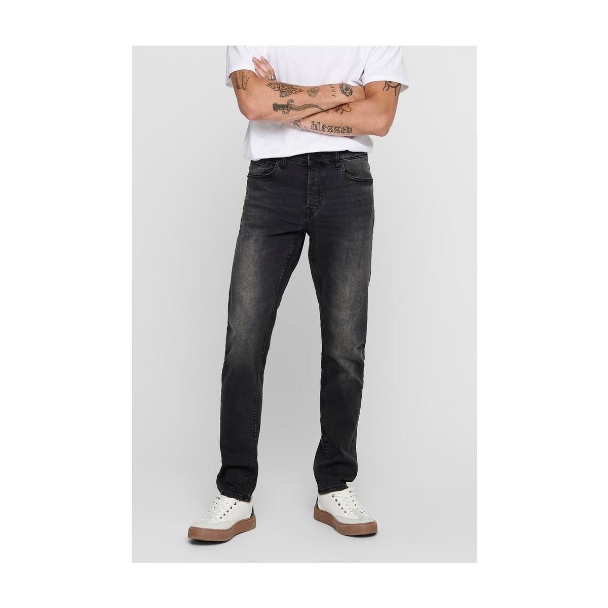 onsloom black washed dcc 0447 noos 22010447 only & sons jeans black denim