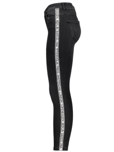 vmseven mr slim text ankle jeans 10205504 vero moda broek black/word tape