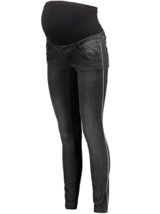 Mama-Licious Positie broek MLPAIA SLIM BLACK PIPING JEANS A. 20009048 Black Denim/SILVER LUR