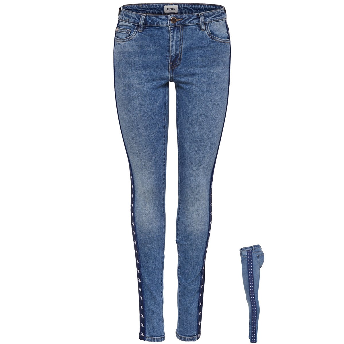 onlcarmen reg sk an tape jeans bj12 15166135 only jeans medium blue denim 98396410ab