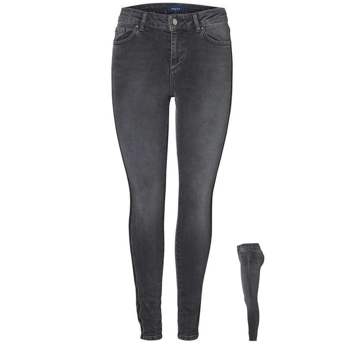 pcdelly dlx mw ank glitter jns dg50 17093032 pieces jeans dark grey denim