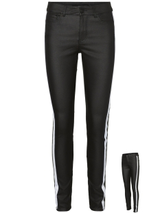 Vero Moda Broek VMSEVEN MR SS SMOOTH COATED PANEL P 10217053 Black/BRIGHT WHITE