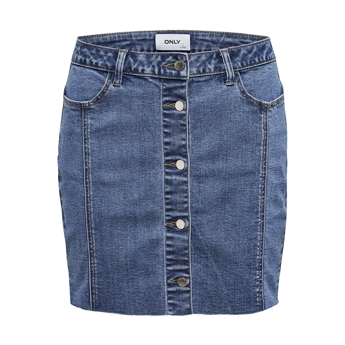 onlfpearl life mw mb cut skirt dnm 15175354 only rok medium blue denim