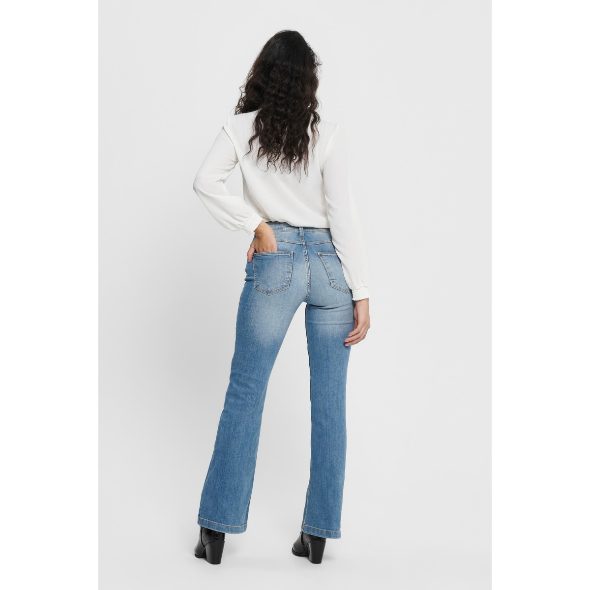 jdyflora life flared high mb noos 15167994 jacqueline de yong jeans medium blue denim