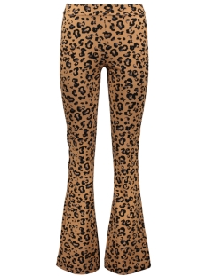 vmkamma nw flared jersey print pant 10221559 vero moda broek indian tan/black leo