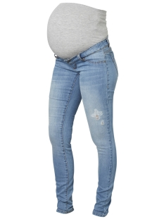 Mama-Licious Positie broek MLJULIA SLIM LIGHT BLUE WASHED JEAN 20009641 Light Blue Denim