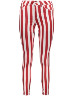Only Jeans ONLBLUSH MID ANK COLOR STRIPED DNM 15189302 White Denim/ Red