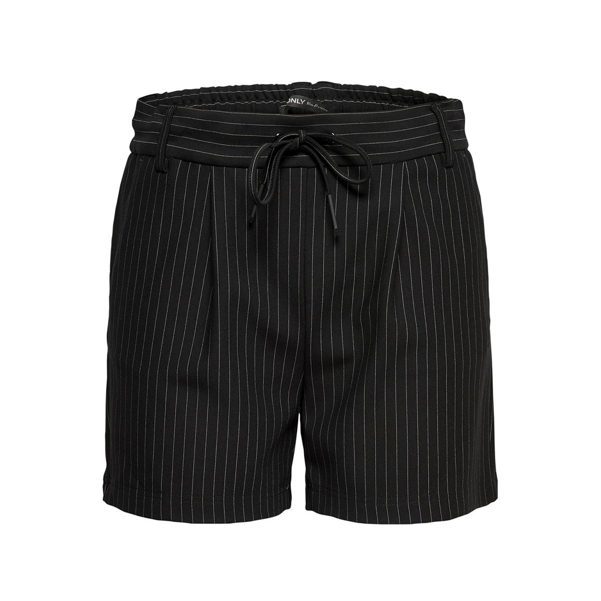 onlpoptrash classic pinstripe short 15182631 only korte broek black