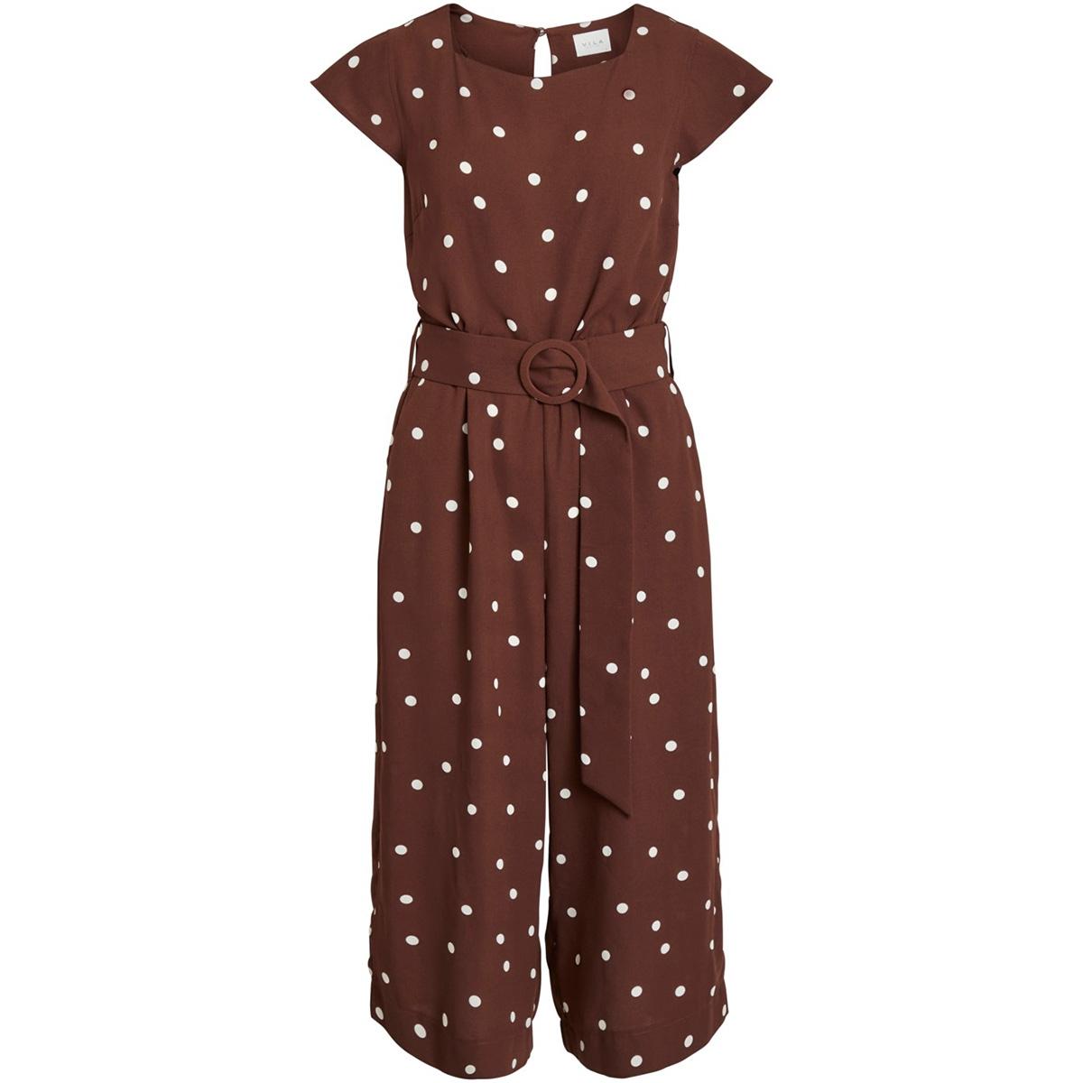 viflores pretty  cropped  jumpsuit 14053236 vila jumpsuit puce/aop dots