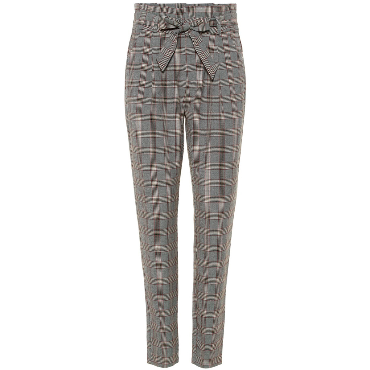 vmeva hr loose paperbag check pant 10209834 vero moda broek grey/brown/rust