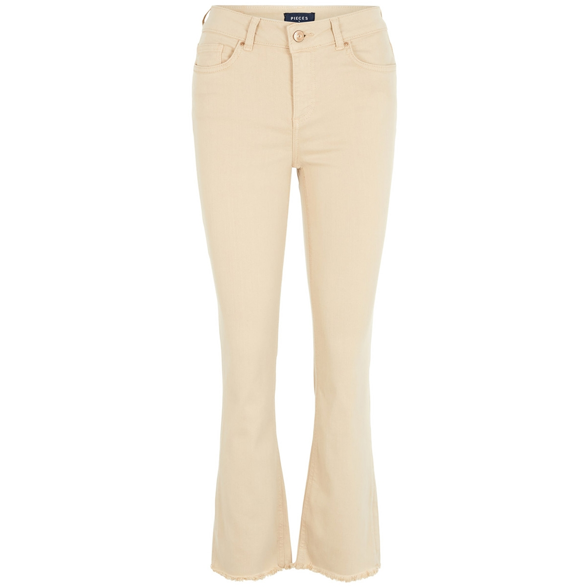pcdelly mw kick flared raw hem white pep 17103481 pieces jeans white pepper