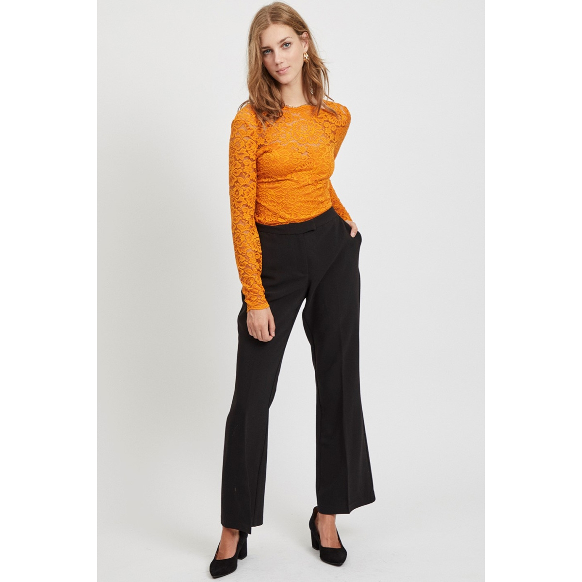 vicharlotte rw flared pants 14053845 vila broek black