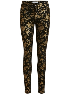 Vila Jeans VICOMMIT RWSL NEW PRINTED JEANS 14056443 Black/GOLD FLOWERS