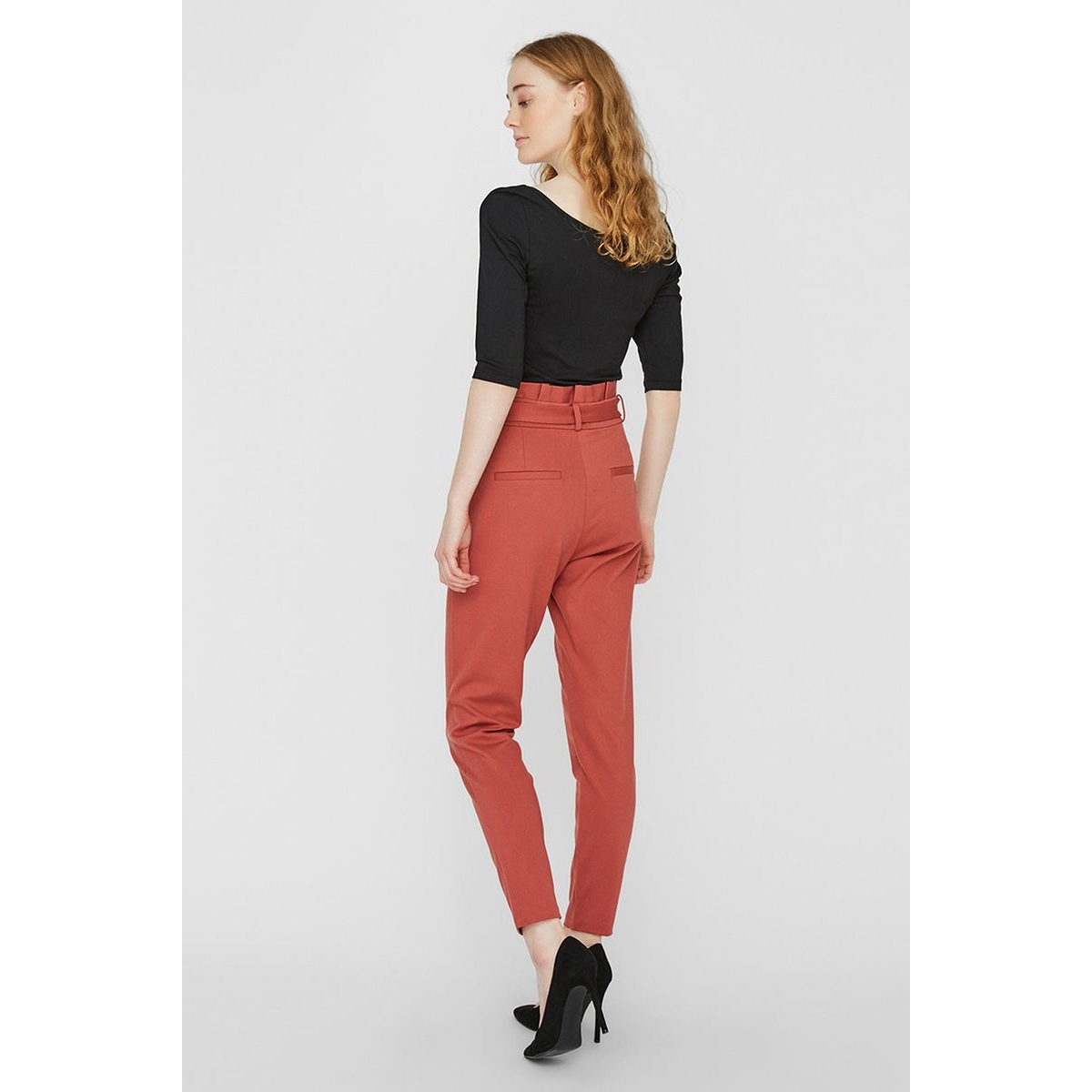 vmeva hr loose paperbag pant color 10210499 vero moda broek marsala