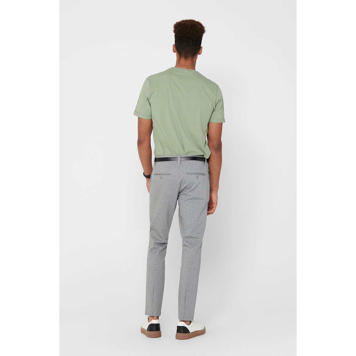 onsmark pant stripe gw 3727 noos 22013727 only & sons broek light grey melange