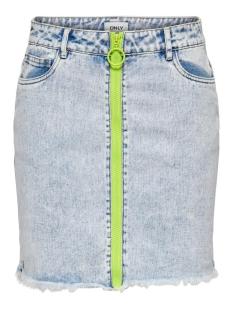 onlemily life hw neon zip dnm skirt 15201160 only rok light blue denim