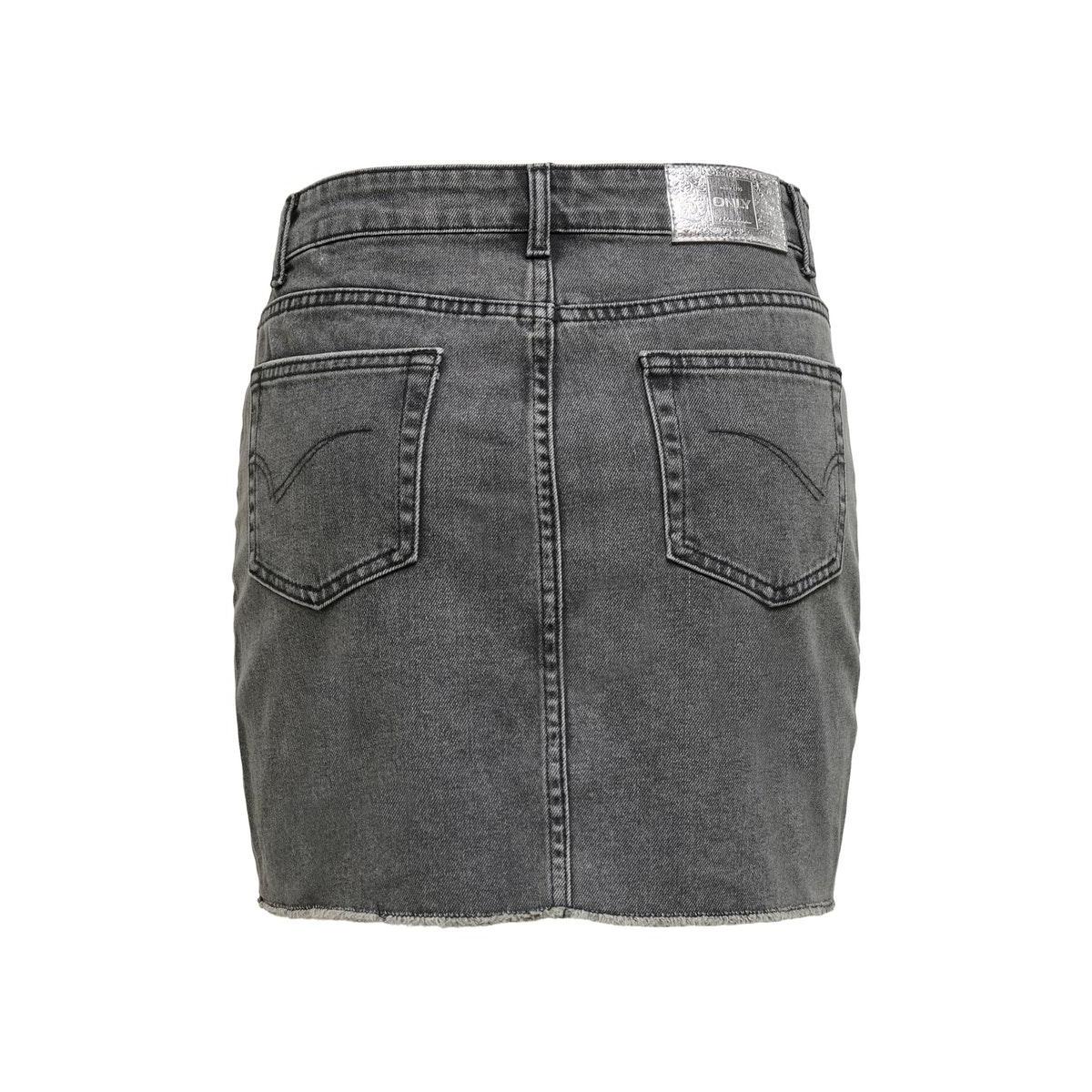 onlsky  life reg skirt raw dest bb 15196689 only rok medium grey denim