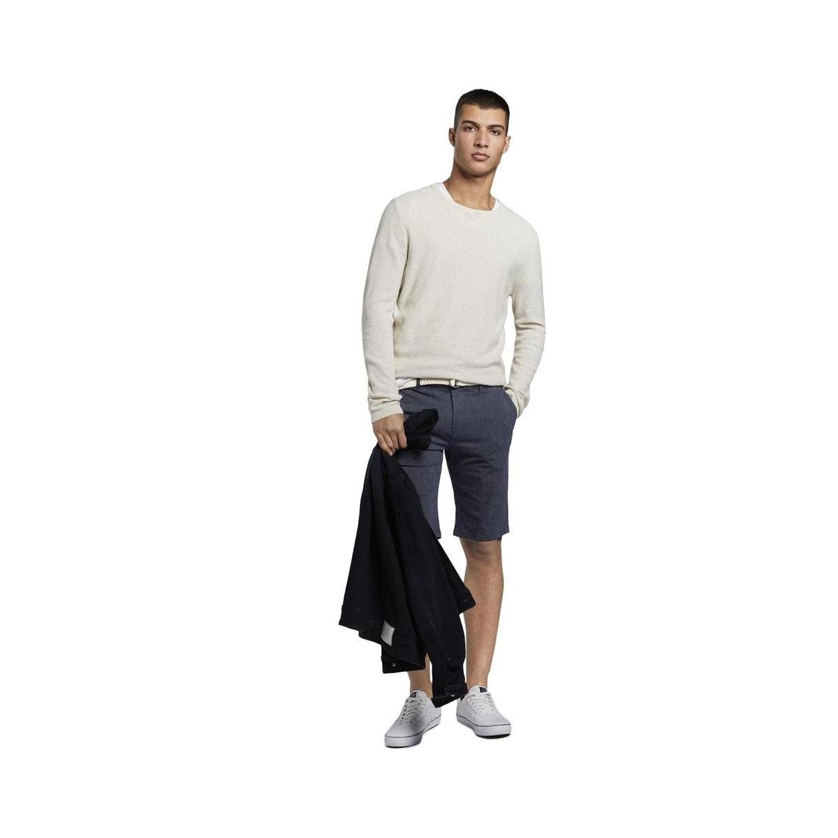fijn patroon chino met gevlochten riem 1016951xx12 tom tailor korte broek 21975