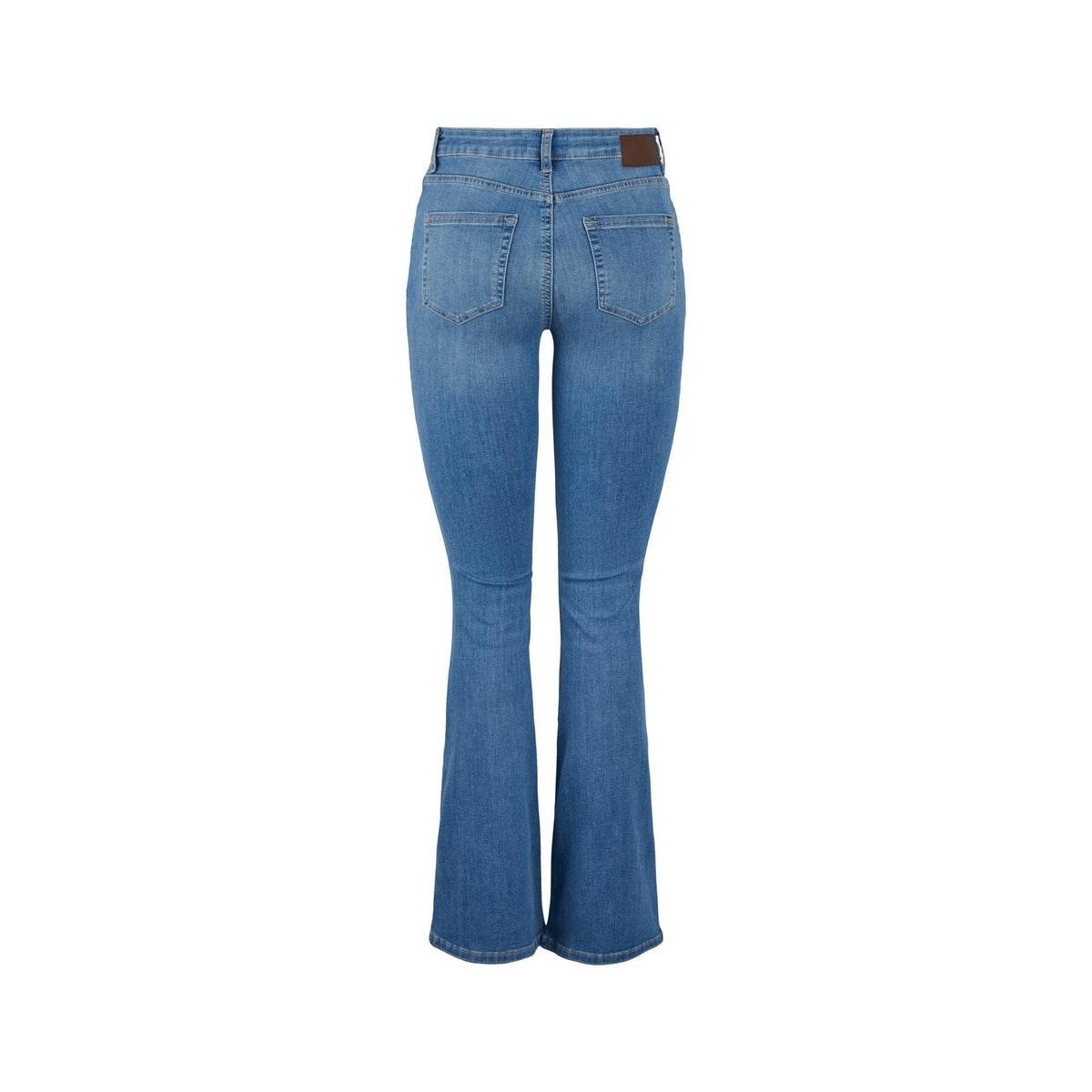 pcdelly dlx flared mw jeans lb124-b 17104850 pieces jeans light blue denim