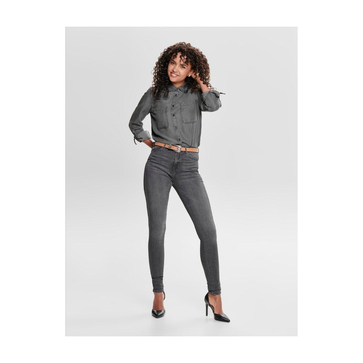 onlpaola life hw sk jea bb azz870 n 15170694 only jeans grey denim