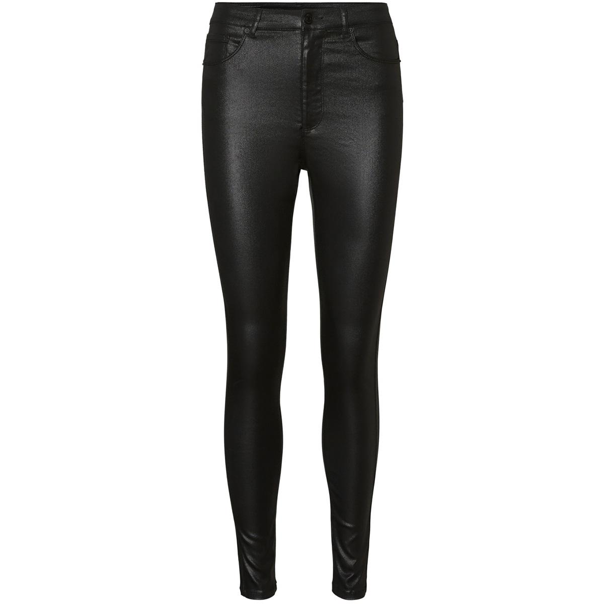 vmloa hr skinny s coated pant ga no 10234919 vero moda broek black