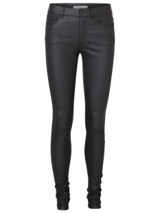 vmseven slim smooth coated pants 10138972 vero moda broek black
