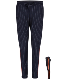 Zoso Broek PINSTRIPE TROUSER HR1922 NAVY/ORANGE RED