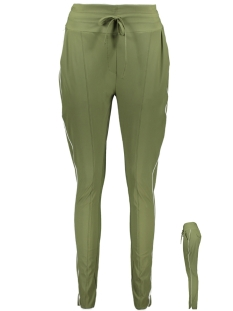 Zoso Broek TRAVEL PANT WITH PIPING HR1904 ARMY/ OFFWHITE