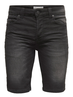 onsbull shorts black jog pk 8475 noos 22008475 only & sons korte broek black denim