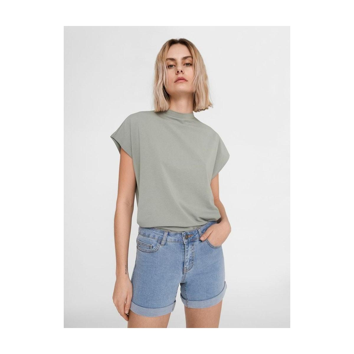 nmbe lucy nw den fold shorts gu818 27001243 noisy may korte broek light blue denim