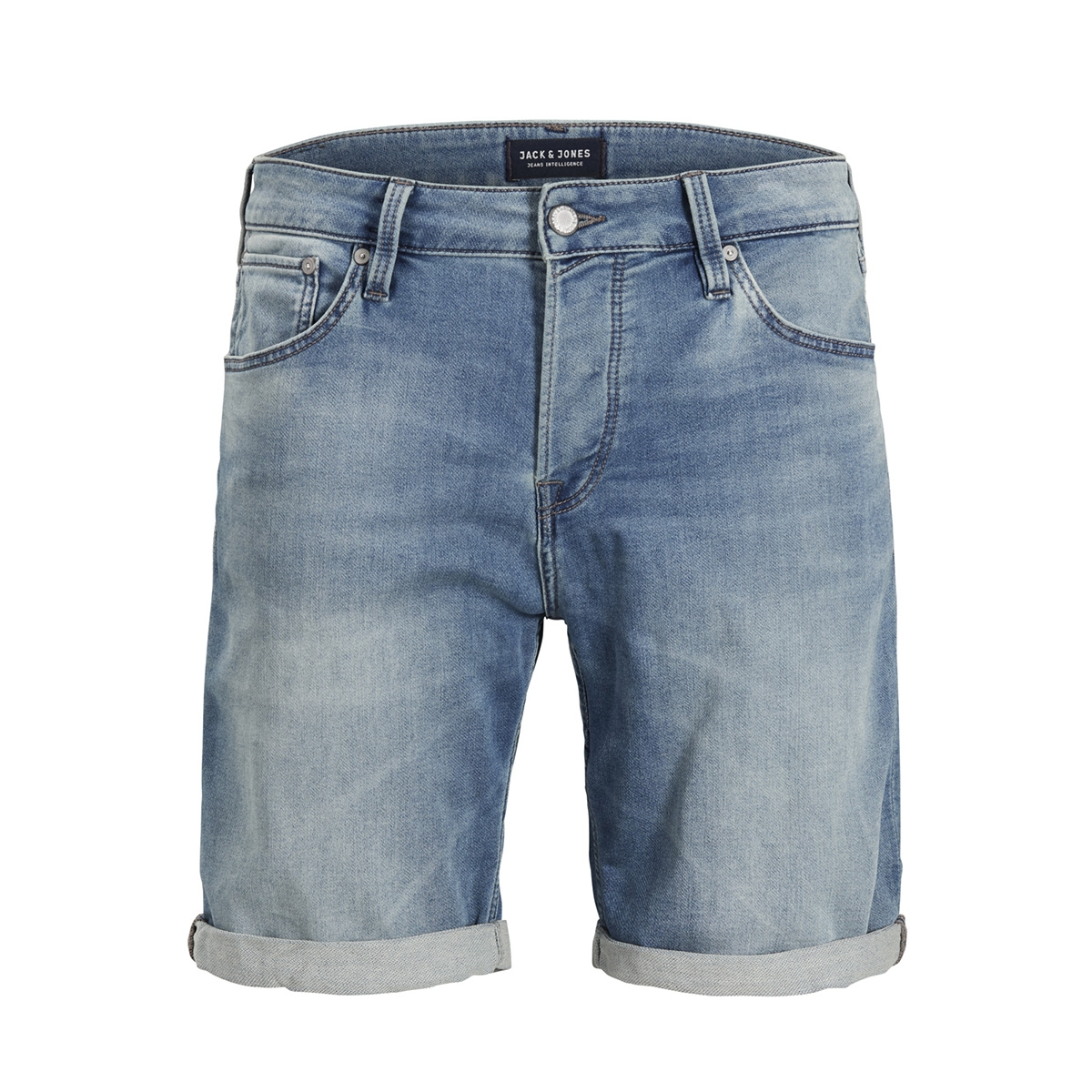 jjirick jjicon shorts ge 797 i.k. s 12132206 jack & jones korte broek blue denim