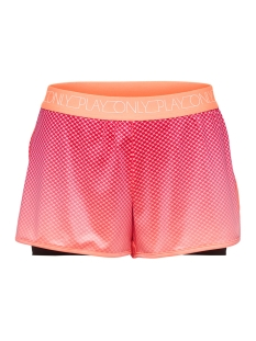 Only Play Sport short ONPMELINA AOP RUN SHORTS 15165677 Neon Orange/W. NEON OR