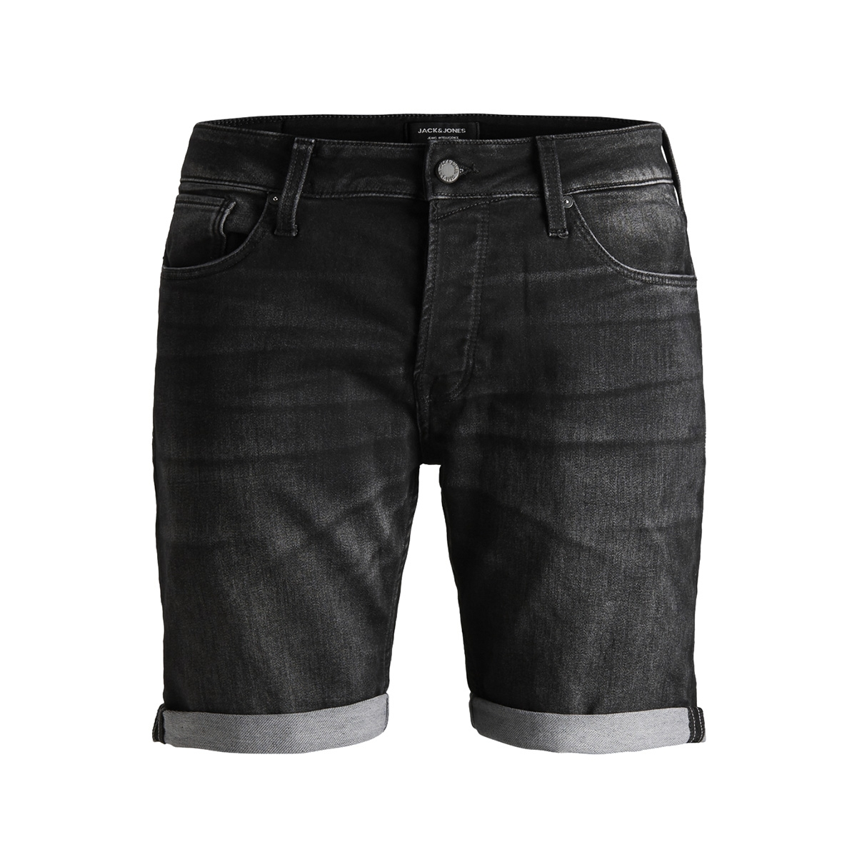 jjirick jjicon shorts ge 853 i.k. s 12147068 jack & jones korte broek black denim