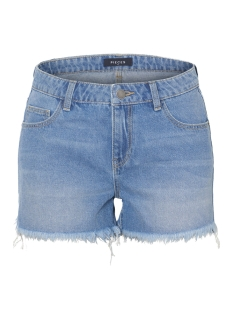pcalma mw raw edge shorts lb122-vi 17096699 pieces korte broek light blue denim