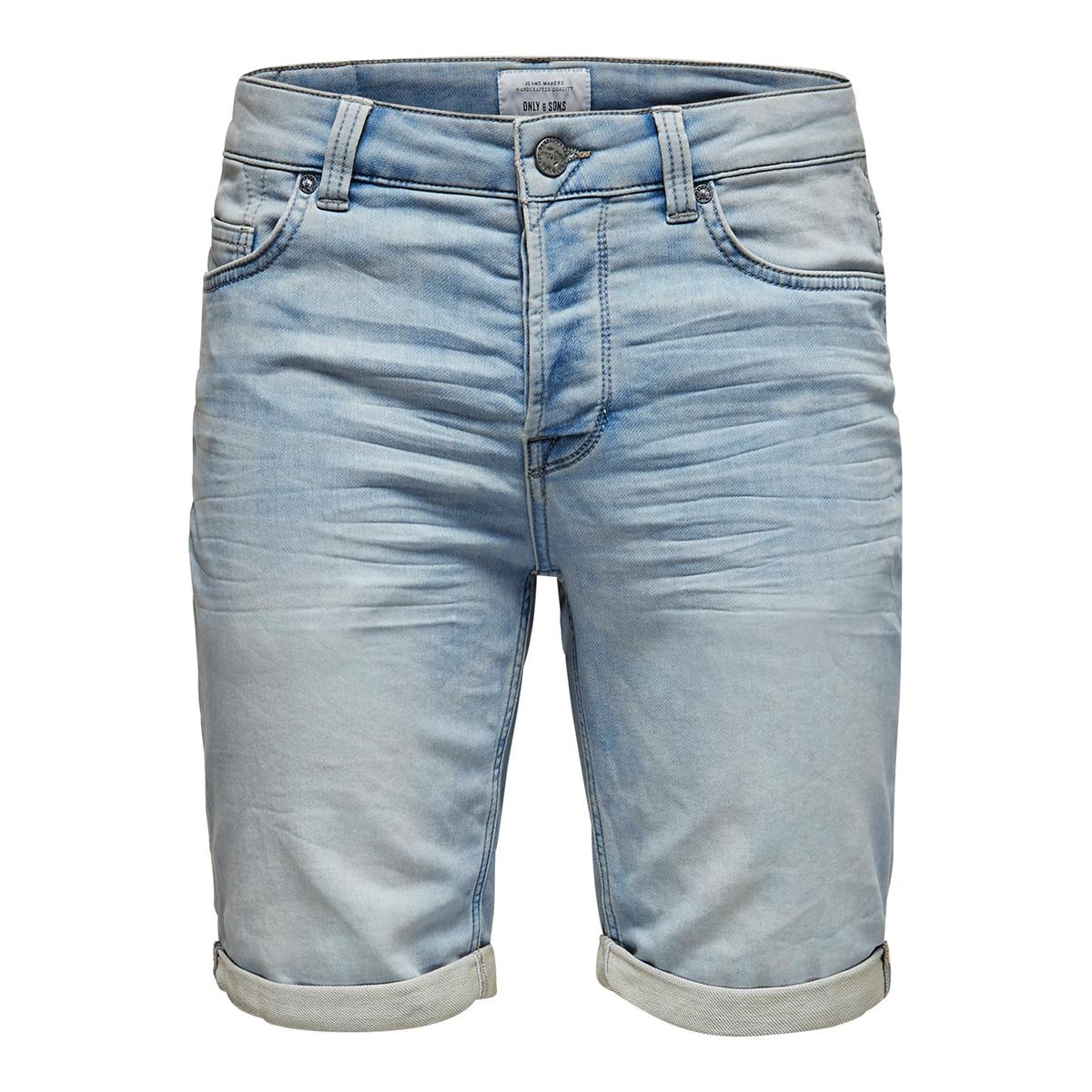onsply sweat l blue pk 2973 noos 22012973 only & sons korte broek blue denim