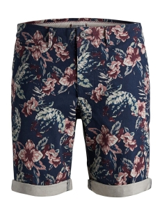 jjienzo chino shorts ww 01 print st 12153535 jack & jones korte broek navy blazer/flower aop