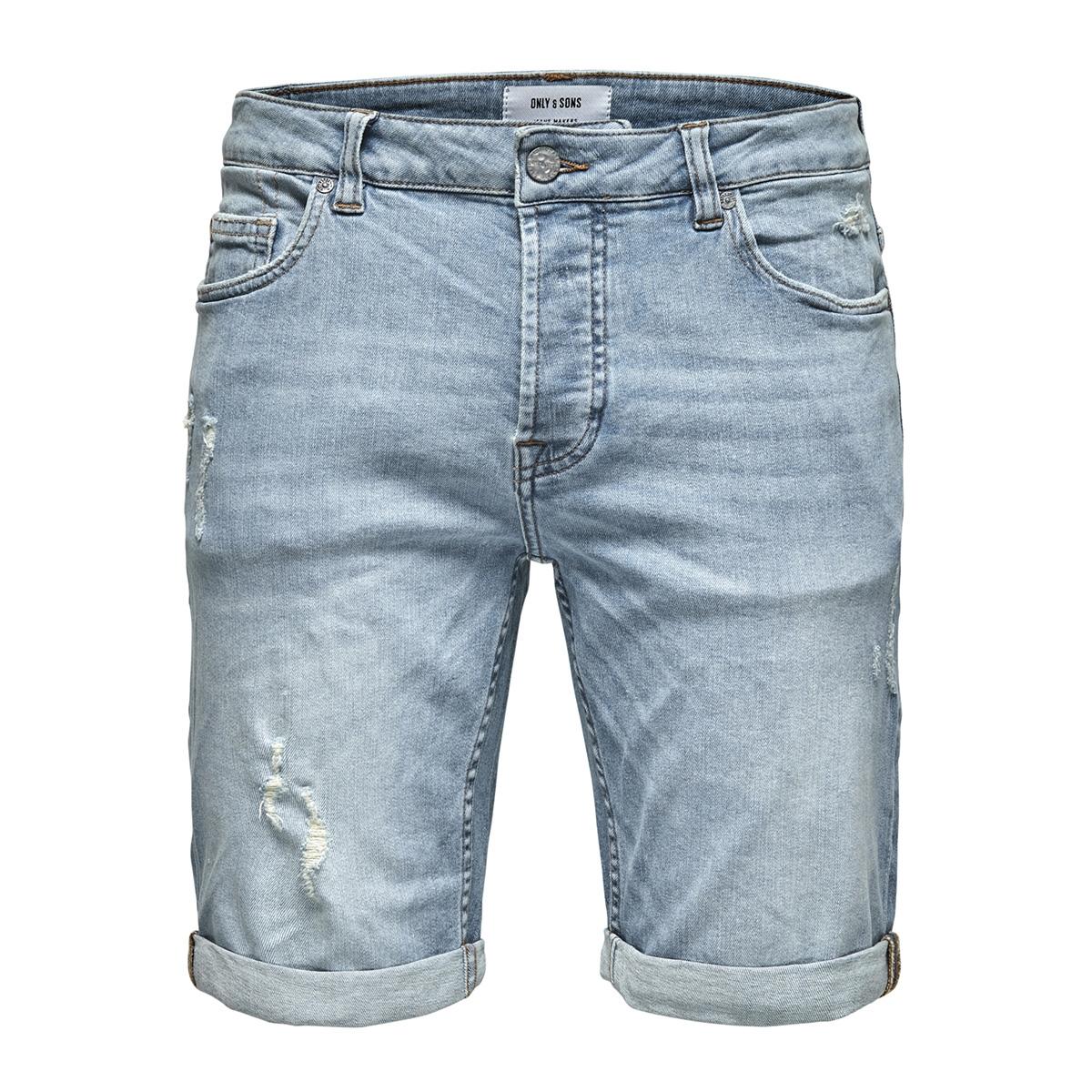 onsply damage light blue dcc 2959 n 22012959 only & sons korte broek blue denim