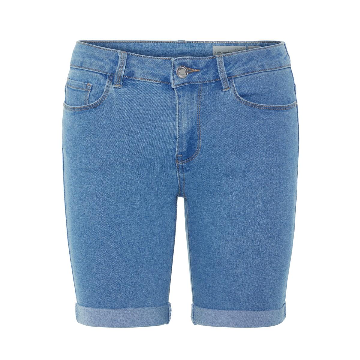 vmhot seven nw dnm long f short mix 10193078 vero moda korte broek light blue denim