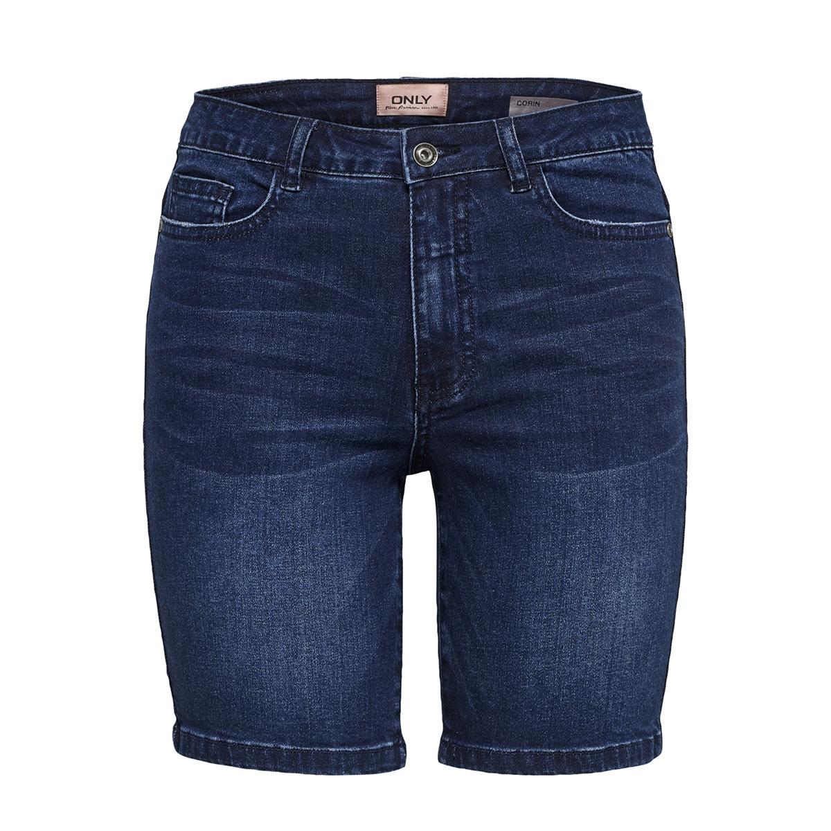 onlcorin midwaist  dnm shorts box b 15175395 only korte broek dark blue denim