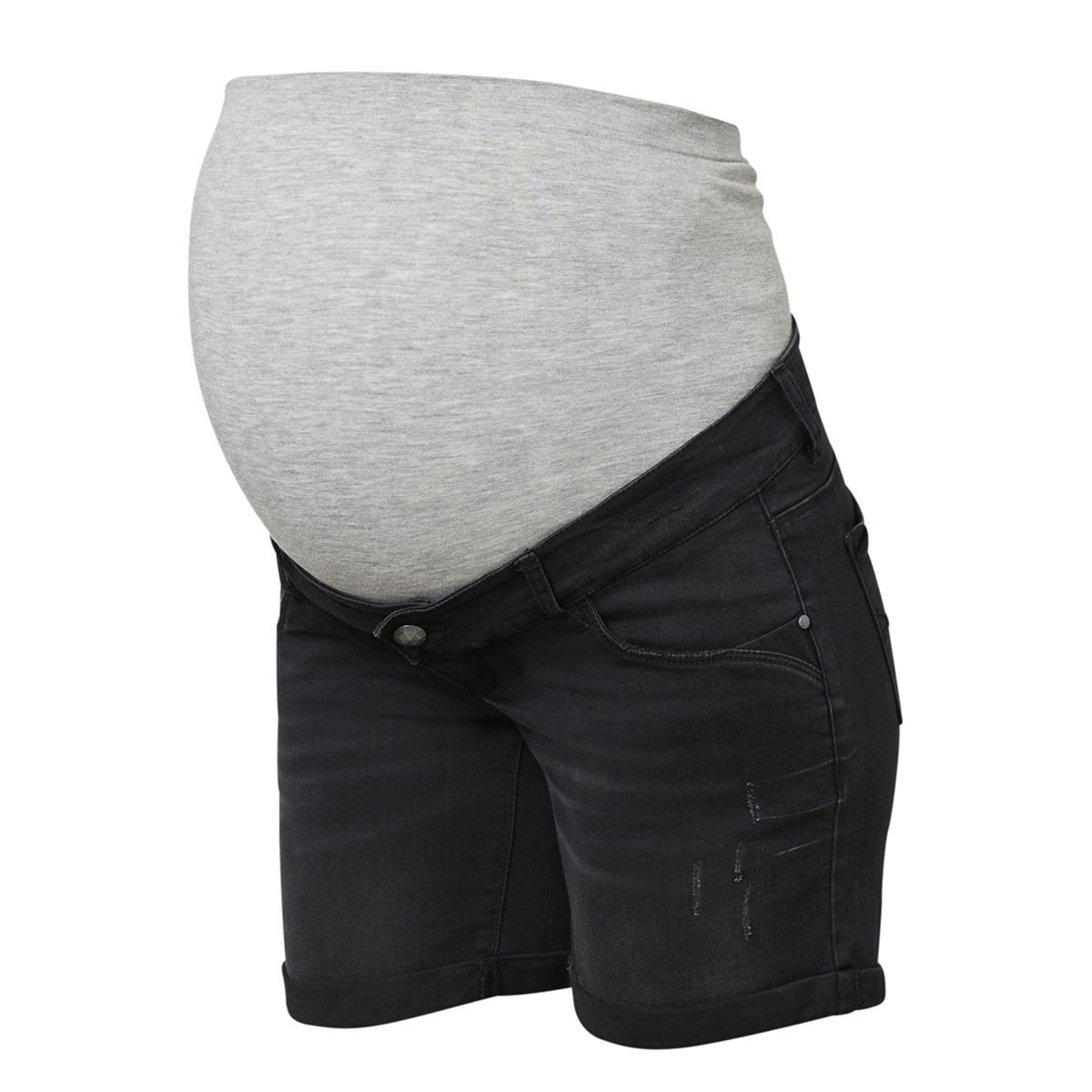 mlpaz slim denim shorts a 20009631 mama-licious positie broek black denim