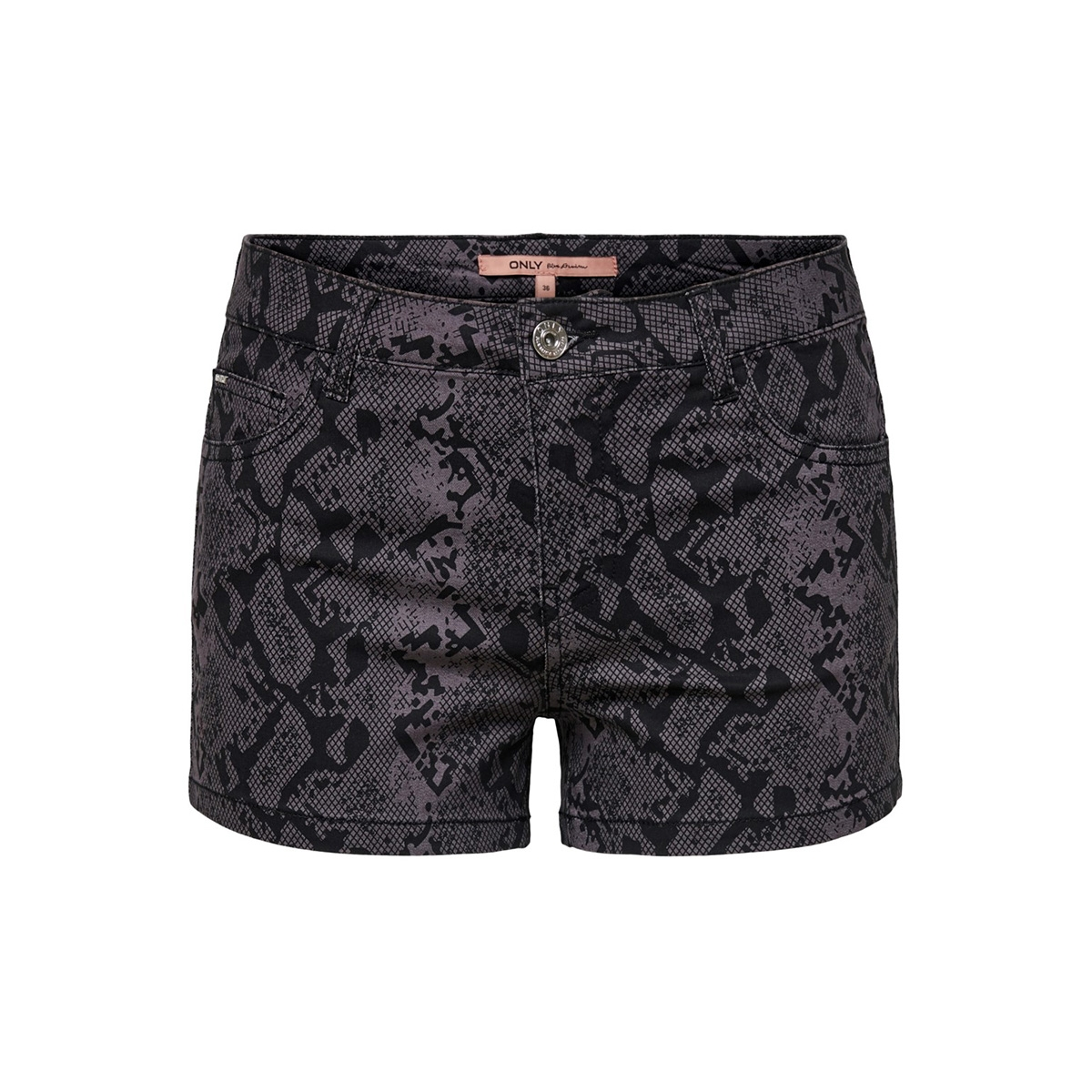 onlannika reg summer print shorts p 15176800 only korte broek black/snake