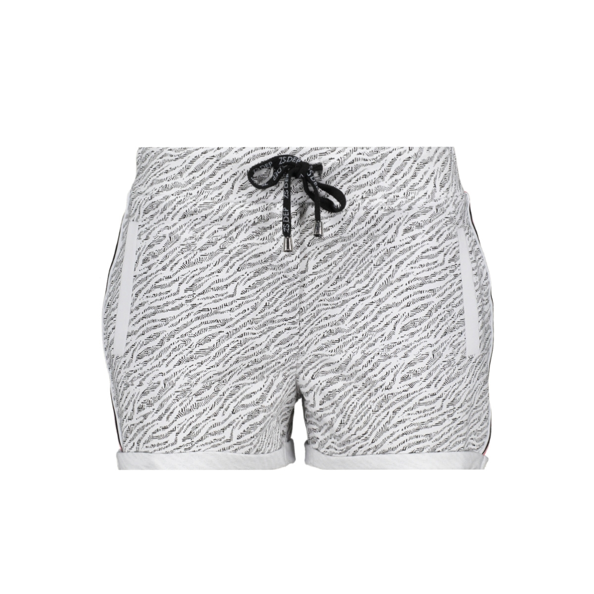 sporty short with allover 193 zoso korte broek white/red