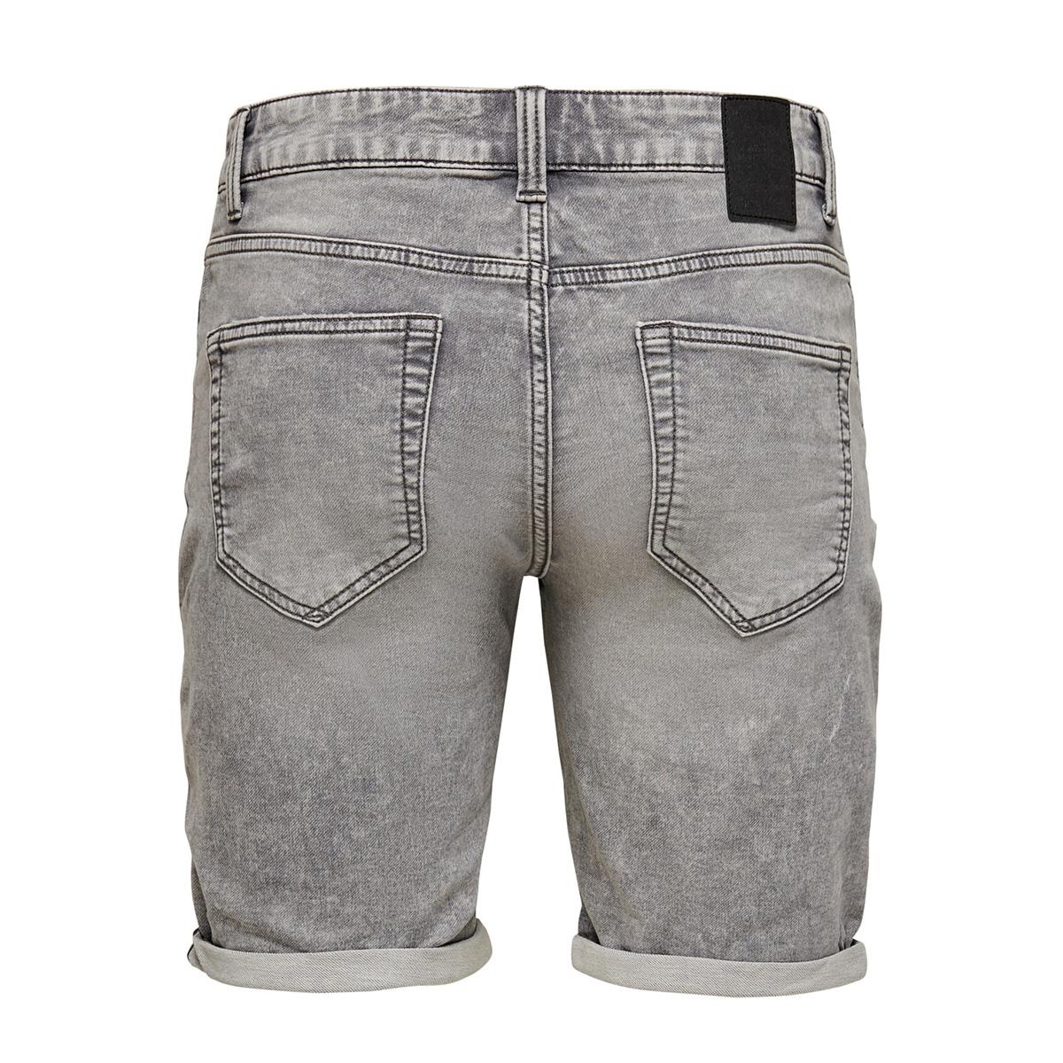 onsply reg grey sw pk 5229 noos 22015229 only & sons korte broek grey denim