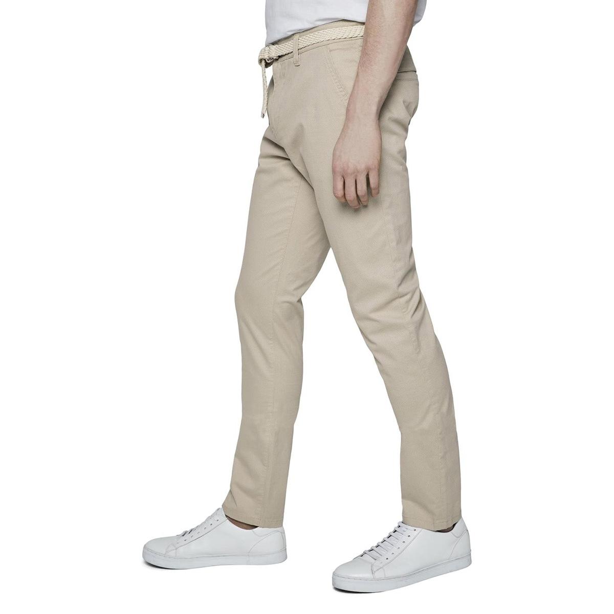 slanke chino met riem en fijn patroon 1018929xx12 tom tailor broek 23728