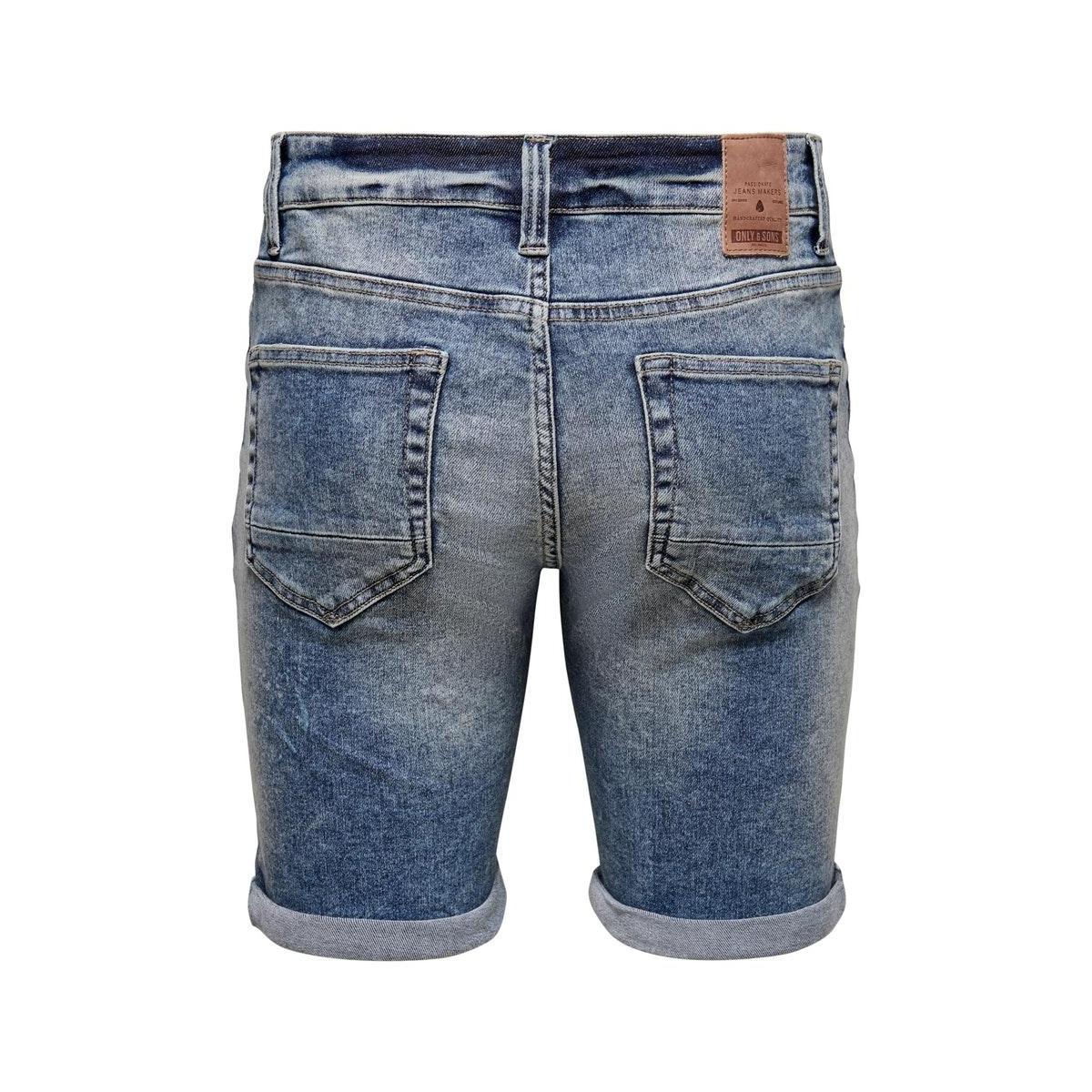 onsply reg  l blue ld pk 5280 22015280 only & sons korte broek blue denim