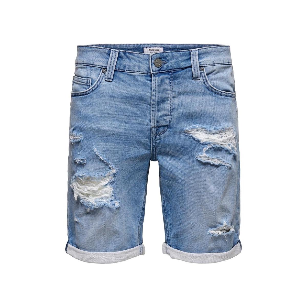 onsply reg life l blue sw pk 5282 22015282 only & sons korte broek blue denim