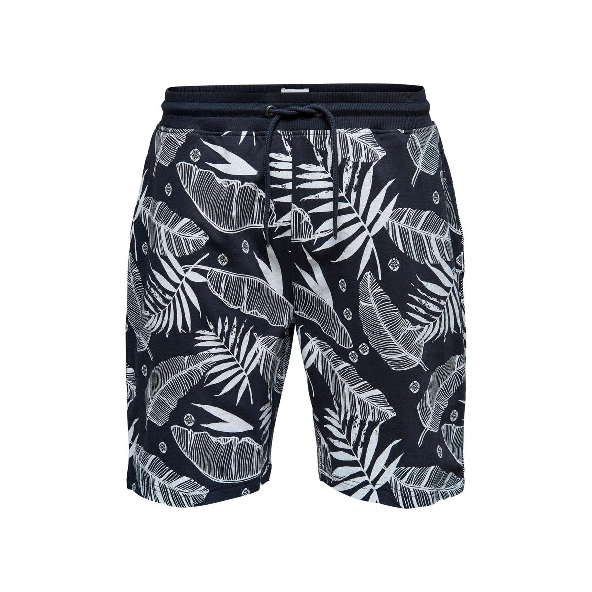 onsbolt aop sweat shorts 22016252 only & sons korte broek dark navy