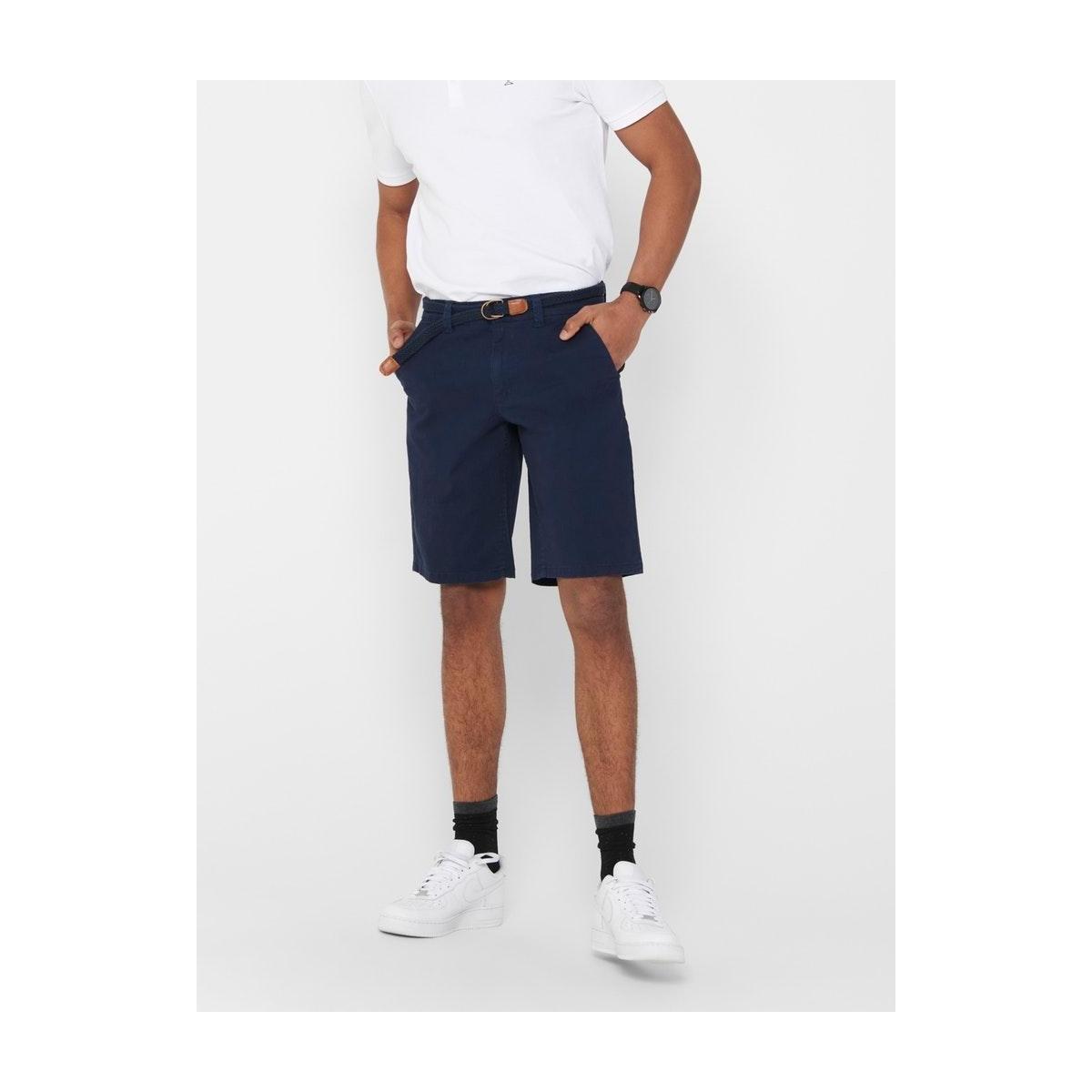 onswill chino shorts belt pk 6557 noos 22016557 only & sons korte broek dress blues