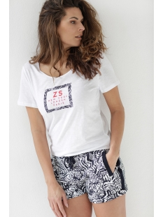 playa allover printed short 203 zoso korte broek white/navy