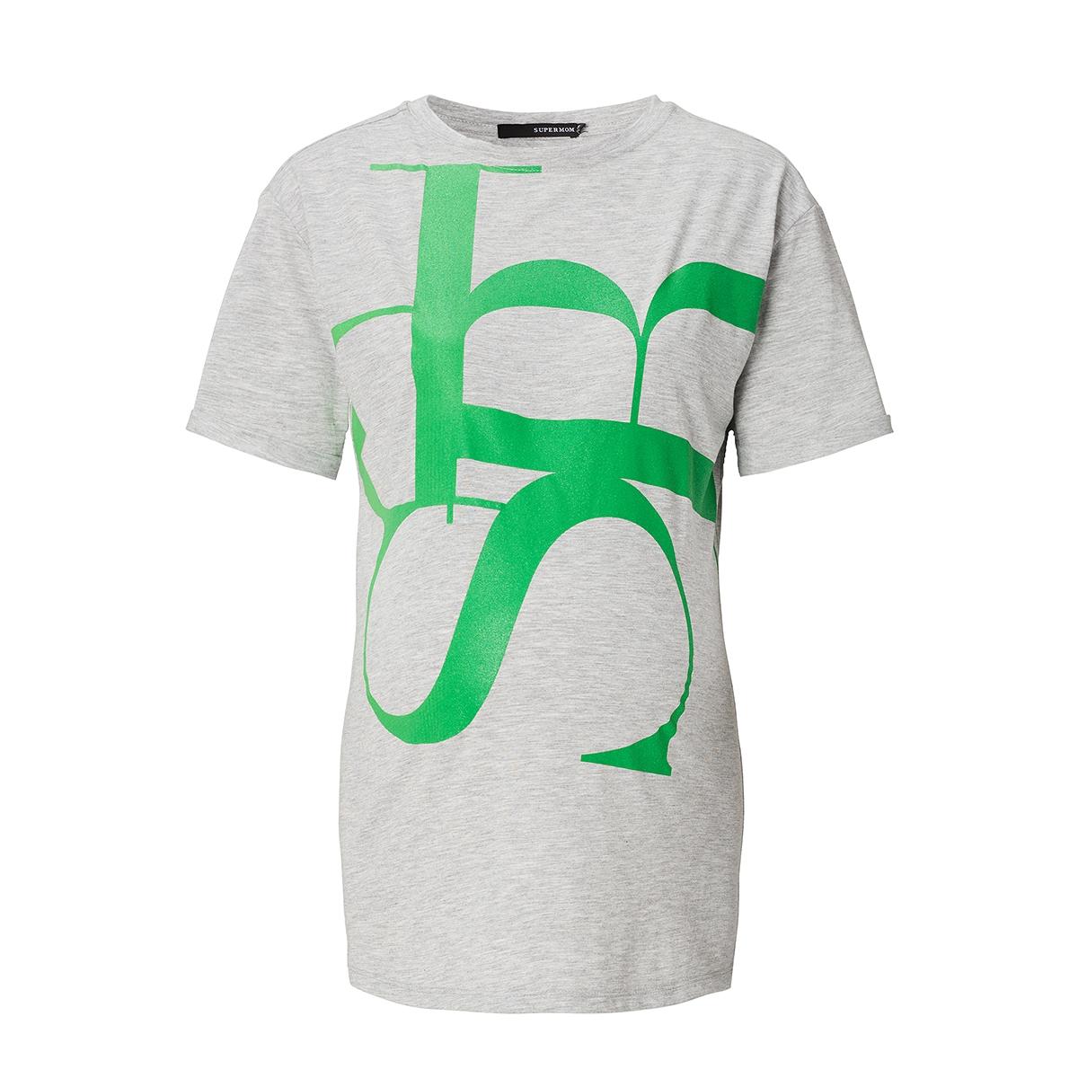 s0712 tee print supermom positie shirt light grey melange